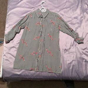 Cherry Blossom Button Down Longsleeve Work Shirt
